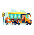 children get on school bus vector image