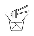 chinese noodles in paper box and chopsticks vector image vector image