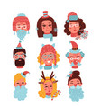christmas faces set of cute happy young women vector image