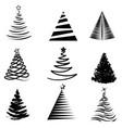 christmas tree design set vector image vector image