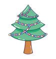 christmas tree pine cartoon vector image vector image