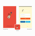 company love guitar splash screen and login page vector image