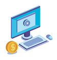 computer desktop with business icons vector image