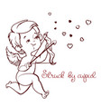 cupid hunting with archey bow flying hearts cupid