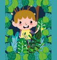 cute boy at forest vector image vector image