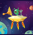 cute cartoon ufo and alian vector image