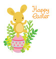 easter bunny dancing on the egg vector image vector image