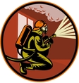 Fireman firefighter kneeling with fire hose vector image vector image