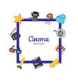 flat cinema icons frame cinema concept vector image vector image