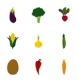 Fresh vegetables icons set flat style vector image vector image