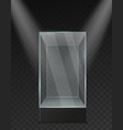 glass showcase transparent plastic empty square vector image