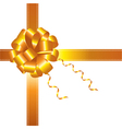 Golden ribbon and bow vector image vector image