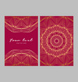 greeting card golden ethnic patterns on red vector image vector image