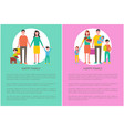 happy family set mother father daughter and son vector image vector image