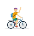 Happy man on bicycle vector image