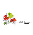 hello summer web banner with poppies vector image