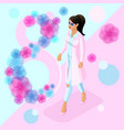 isometric girl in a pink coat against a beautiful vector image