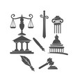 law justice firm logo balance sword pillar gavel vector image vector image