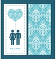 light blue swirls damask couple in love vector image