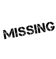 Missing black rubber stamp on white vector image vector image