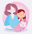 mom little daughter and baboy together family vector image