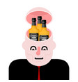 open head and bottle whiskey alcohol in head vector image vector image