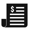paper money loan icon simple style vector image vector image