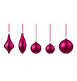 pink isolated christmas balls set vector image vector image