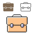 pixel icon briefcase in three variants fully vector image vector image