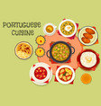 Portuguese cuisine popular dishes icon vector image