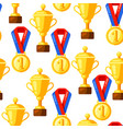 seamless pattern with gold cups and medals in flat vector image