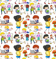 Seamless people doing different activities vector image vector image