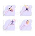 set young business people stand on top vector image vector image
