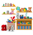 shelf full books and toys on white background vector image vector image