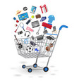 shopping cart with shopping object floating vector image vector image