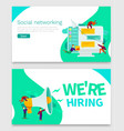 small cartoon people with megaphone banner we are vector image