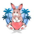 summer rabbit holding love heart at beach under th vector image