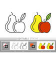 thanksgiving day apple pear line icon colored page vector image vector image
