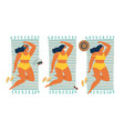 unusual tan girl sunbathing in a protective mask vector image