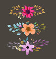 watercolor floral bouquet with leaves and flowers vector image vector image