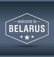 welcome to belarus hexagonal white vintage label vector image vector image
