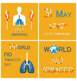 world no tobacco day lungs stop smoking vector image vector image