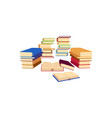 flat books pile stacks column heap vector image
