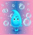 Water drop character Cute cartoon vector image