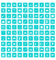 100 restaurant icons set grunge blue vector image vector image
