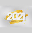 2021 happy new year with 3d realistic numbers and vector image vector image