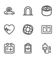 9 emergency icons vector image vector image