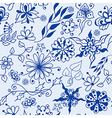 Abstract seamless doodle flowers pattern vector image