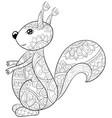 adult coloring bookpage a cute cartoon squirrel vector image vector image