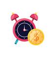 alarm clock with coin dollar vector image